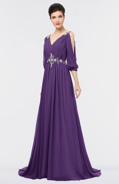 ColsBM Joyce Dark Purple Mature A-line V-neck Zip up Sweep Train Beaded Bridesmaid Dresses
