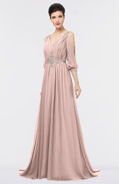 ColsBM Joyce Dusty Rose Mature A-line V-neck Zip up Sweep Train Beaded Bridesmaid Dresses