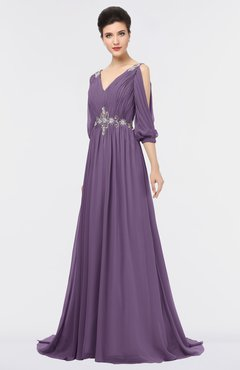 ColsBM Joyce Eggplant Mature A-line V-neck Zip up Sweep Train Beaded Bridesmaid Dresses