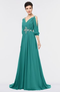 ColsBM Joyce Emerald Green Mature A-line V-neck Zip up Sweep Train Beaded Bridesmaid Dresses