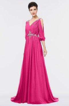 ColsBM Joyce Fandango Pink Mature A-line V-neck Zip up Sweep Train Beaded Bridesmaid Dresses