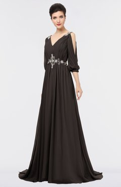 ColsBM Joyce Fudge Brown Mature A-line V-neck Zip up Sweep Train Beaded Bridesmaid Dresses