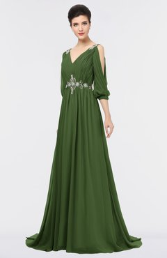 ColsBM Joyce Garden Green Mature A-line V-neck Zip up Sweep Train Beaded Bridesmaid Dresses