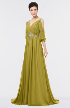 ColsBM Joyce Golden Olive Mature A-line V-neck Zip up Sweep Train Beaded Bridesmaid Dresses