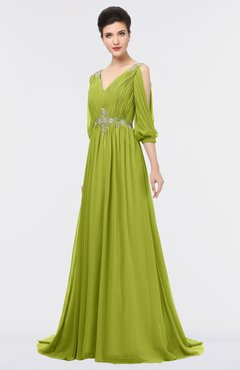ColsBM Joyce Green Oasis Mature A-line V-neck Zip up Sweep Train Beaded Bridesmaid Dresses
