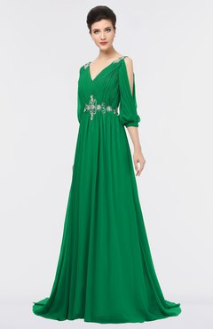 ColsBM Joyce Green Mature A-line V-neck Zip up Sweep Train Beaded Bridesmaid Dresses