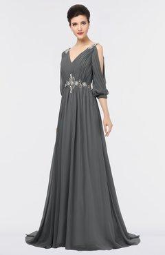 ColsBM Joyce Grey Mature A-line V-neck Zip up Sweep Train Beaded Bridesmaid Dresses