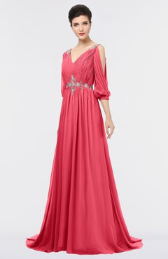 ColsBM Joyce Guava Mature A-line V-neck Zip up Sweep Train Beaded Bridesmaid Dresses
