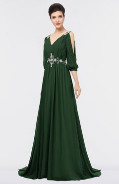 ColsBM Joyce Hunter Green Mature A-line V-neck Zip up Sweep Train Beaded Bridesmaid Dresses