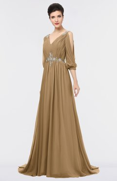 ColsBM Joyce Indian Tan Mature A-line V-neck Zip up Sweep Train Beaded Bridesmaid Dresses