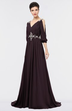 ColsBM Joyce Italian Plum Mature A-line V-neck Zip up Sweep Train Beaded Bridesmaid Dresses