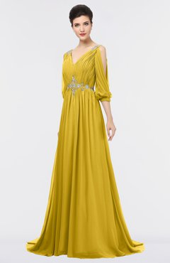 ColsBM Joyce Lemon Curry Mature A-line V-neck Zip up Sweep Train Beaded Bridesmaid Dresses