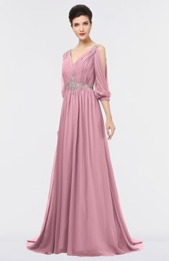 ColsBM Joyce Light Coral Mature A-line V-neck Zip up Sweep Train Beaded Bridesmaid Dresses