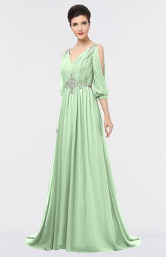 ColsBM Joyce Light Green Mature A-line V-neck Zip up Sweep Train Beaded Bridesmaid Dresses