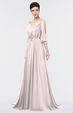 ColsBM Joyce Light Pink Mature A-line V-neck Zip up Sweep Train Beaded Bridesmaid Dresses