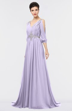 ColsBM Joyce Light Purple Mature A-line V-neck Zip up Sweep Train Beaded Bridesmaid Dresses