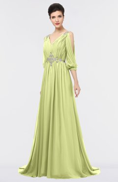 ColsBM Joyce Lime Green Mature A-line V-neck Zip up Sweep Train Beaded Bridesmaid Dresses