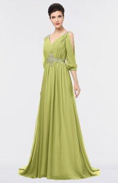 ColsBM Joyce Linden Green Mature A-line V-neck Zip up Sweep Train Beaded Bridesmaid Dresses
