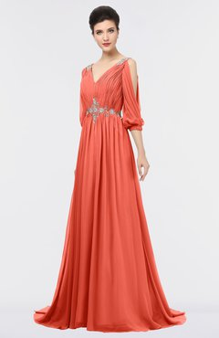 ColsBM Joyce Living Coral Mature A-line V-neck Zip up Sweep Train Beaded Bridesmaid Dresses