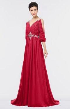 ColsBM Joyce Lollipop Mature A-line V-neck Zip up Sweep Train Beaded Bridesmaid Dresses