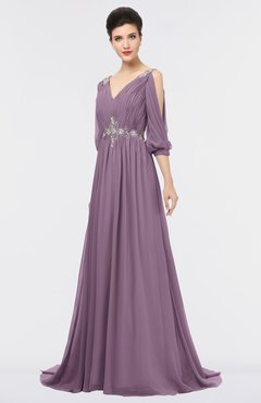 ColsBM Joyce Mauve Mature A-line V-neck Zip up Sweep Train Beaded Bridesmaid Dresses