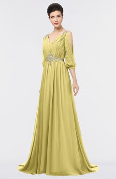 ColsBM Joyce Misted Yellow Mature A-line V-neck Zip up Sweep Train Beaded Bridesmaid Dresses