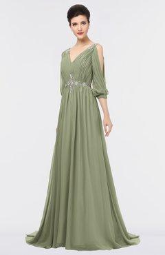 ColsBM Joyce Moss Green Mature A-line V-neck Zip up Sweep Train Beaded Bridesmaid Dresses
