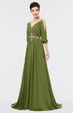 ColsBM Joyce Olive Green Mature A-line V-neck Zip up Sweep Train Beaded Bridesmaid Dresses