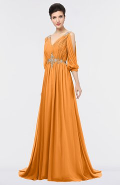 ColsBM Joyce Orange Mature A-line V-neck Zip up Sweep Train Beaded Bridesmaid Dresses
