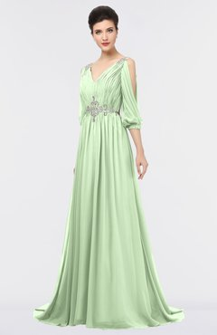 ColsBM Joyce Pale Green Mature A-line V-neck Zip up Sweep Train Beaded Bridesmaid Dresses