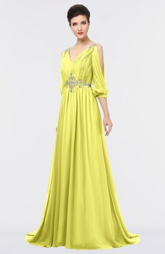 ColsBM Joyce Pale Yellow Mature A-line V-neck Zip up Sweep Train Beaded Bridesmaid Dresses