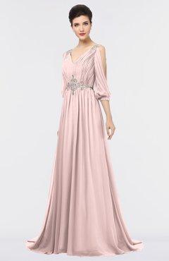 ColsBM Joyce Pastel Pink Mature A-line V-neck Zip up Sweep Train Beaded Bridesmaid Dresses