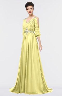 ColsBM Joyce Pastel Yellow Mature A-line V-neck Zip up Sweep Train Beaded Bridesmaid Dresses