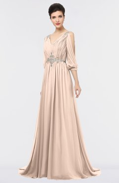 ColsBM Joyce Peach Puree Mature A-line V-neck Zip up Sweep Train Beaded Bridesmaid Dresses