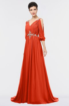 ColsBM Joyce Persimmon Mature A-line V-neck Zip up Sweep Train Beaded Bridesmaid Dresses