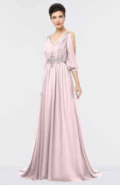 ColsBM Joyce Petal Pink Mature A-line V-neck Zip up Sweep Train Beaded Bridesmaid Dresses