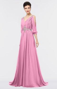ColsBM Joyce Pink Mature A-line V-neck Zip up Sweep Train Beaded Bridesmaid Dresses