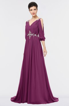 ColsBM Joyce Raspberry Mature A-line V-neck Zip up Sweep Train Beaded Bridesmaid Dresses