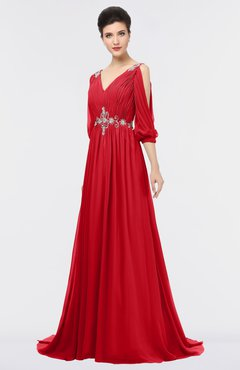 ColsBM Joyce Red Mature A-line V-neck Zip up Sweep Train Beaded Bridesmaid Dresses