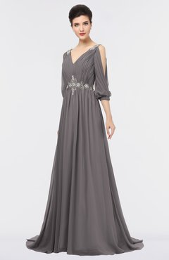 ColsBM Joyce Ridge Grey Mature A-line V-neck Zip up Sweep Train Beaded Bridesmaid Dresses