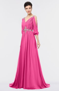 ColsBM Joyce Rose Pink Mature A-line V-neck Zip up Sweep Train Beaded Bridesmaid Dresses