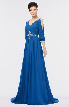 ColsBM Joyce Royal Blue Mature A-line V-neck Zip up Sweep Train Beaded Bridesmaid Dresses