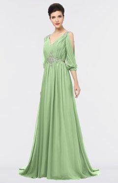 ColsBM Joyce Sage Green Mature A-line V-neck Zip up Sweep Train Beaded Bridesmaid Dresses