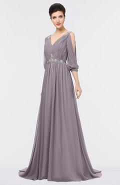 ColsBM Joyce Sea Fog Mature A-line V-neck Zip up Sweep Train Beaded Bridesmaid Dresses