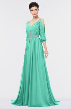ColsBM Joyce Seafoam Green Mature A-line V-neck Zip up Sweep Train Beaded Bridesmaid Dresses