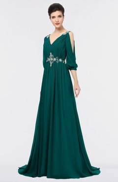 ColsBM Joyce Shaded Spruce Mature A-line V-neck Zip up Sweep Train Beaded Bridesmaid Dresses