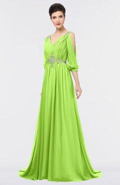 ColsBM Joyce Sharp Green Mature A-line V-neck Zip up Sweep Train Beaded Bridesmaid Dresses