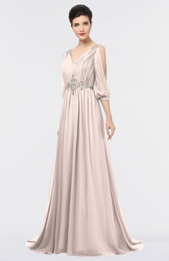 ColsBM Joyce Silver Peony Mature A-line V-neck Zip up Sweep Train Beaded Bridesmaid Dresses