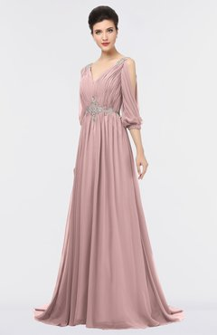 ColsBM Joyce Silver Pink Mature A-line V-neck Zip up Sweep Train Beaded Bridesmaid Dresses
