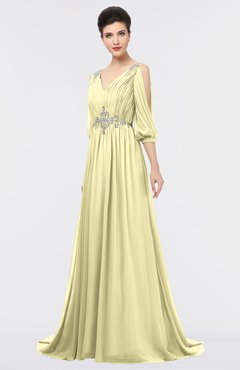 ColsBM Joyce Soft Yellow Mature A-line V-neck Zip up Sweep Train Beaded Bridesmaid Dresses